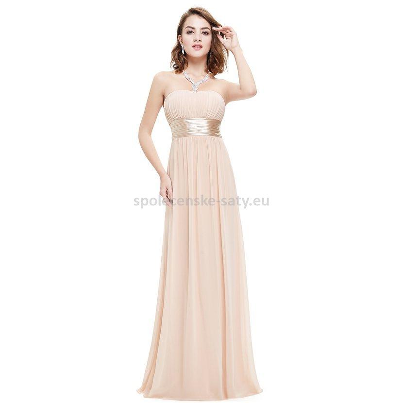 0d9b928ed82e Béžové dlouhé společenské šaty na svatbu pro družičku svědkyni 44 ...