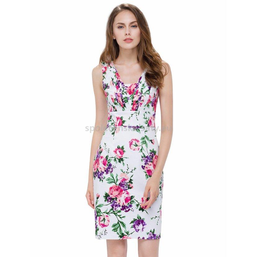 Barevné bílé letní šaty se vzorem na svatbu host 34-36  e55abce71d