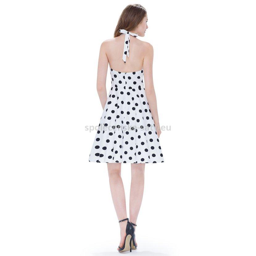 Bílé krátké šaty za krk s černými puntíky 40  29fca0fc28