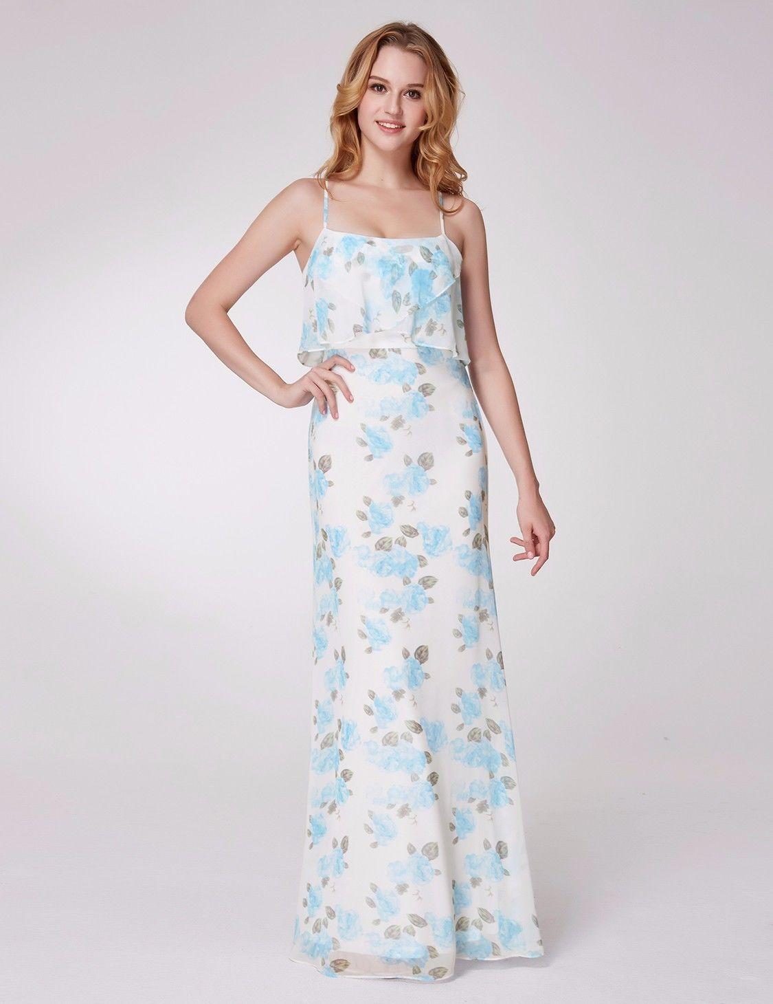 787d3786c5f Bílé modré dlouhé letní šaty na ramínka 34-36