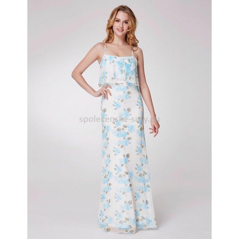 Bílé modré dlouhé letní šaty na ramínka 42  adfee37c35