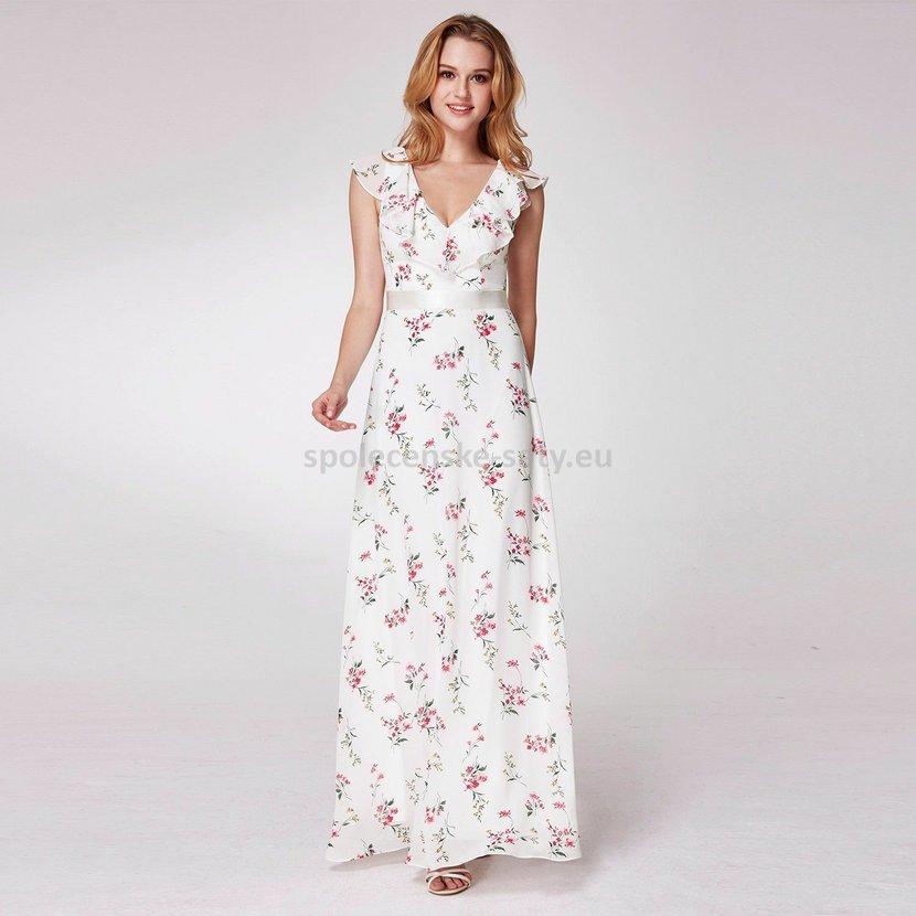 Bílé dlouhé letní společenské šaty se vzorem 34-36  78069019e2