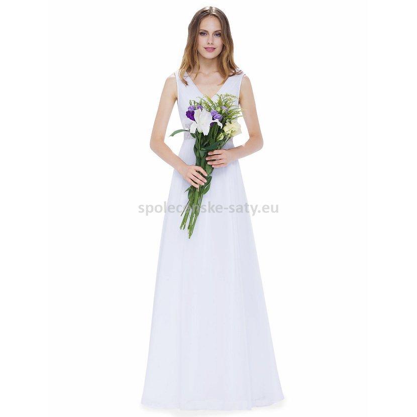 Jednoduché dlouhé bílé šaty na svatbu na léto 34-36  4bb277acb2