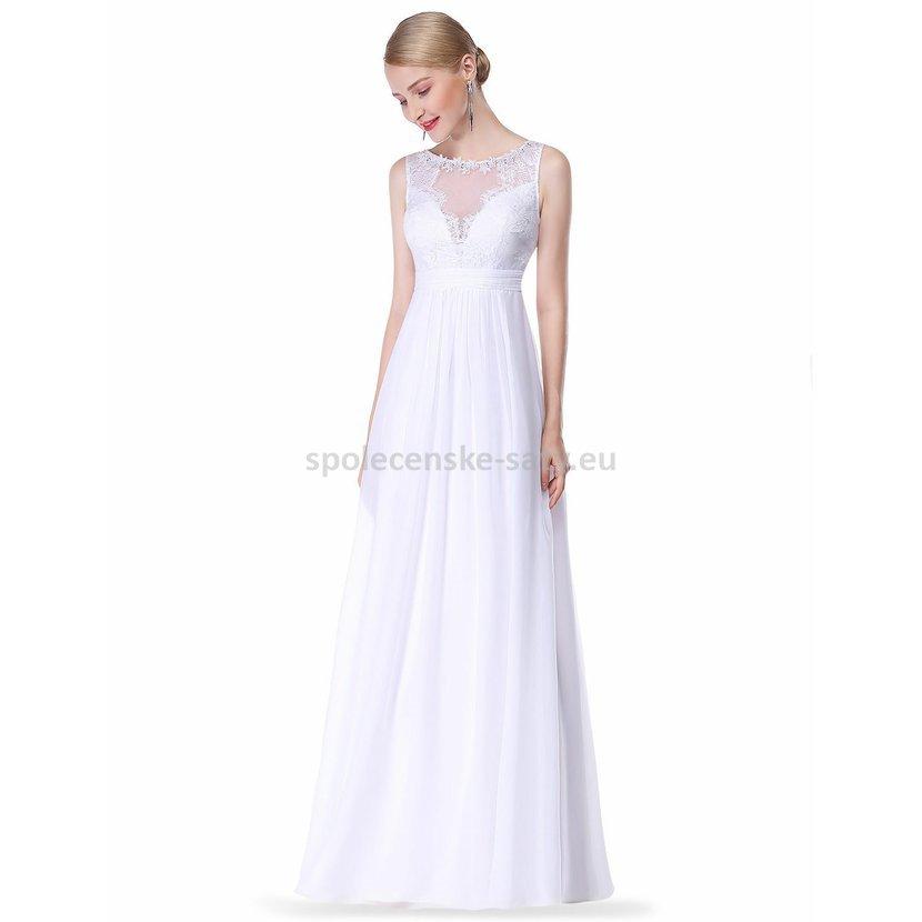 Svatební šaty na hrubší ramínka s krajkou 42  73ea78b576