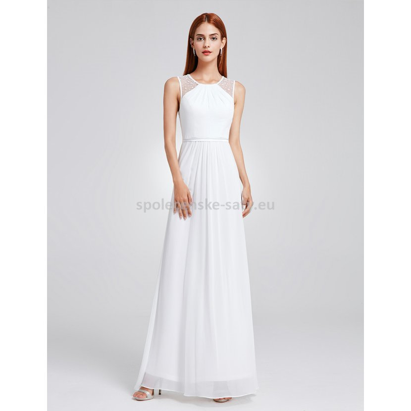 99410ab8072 Bílé dlouhé společenské svatební šaty na hrubší ramínka 40-42 ...