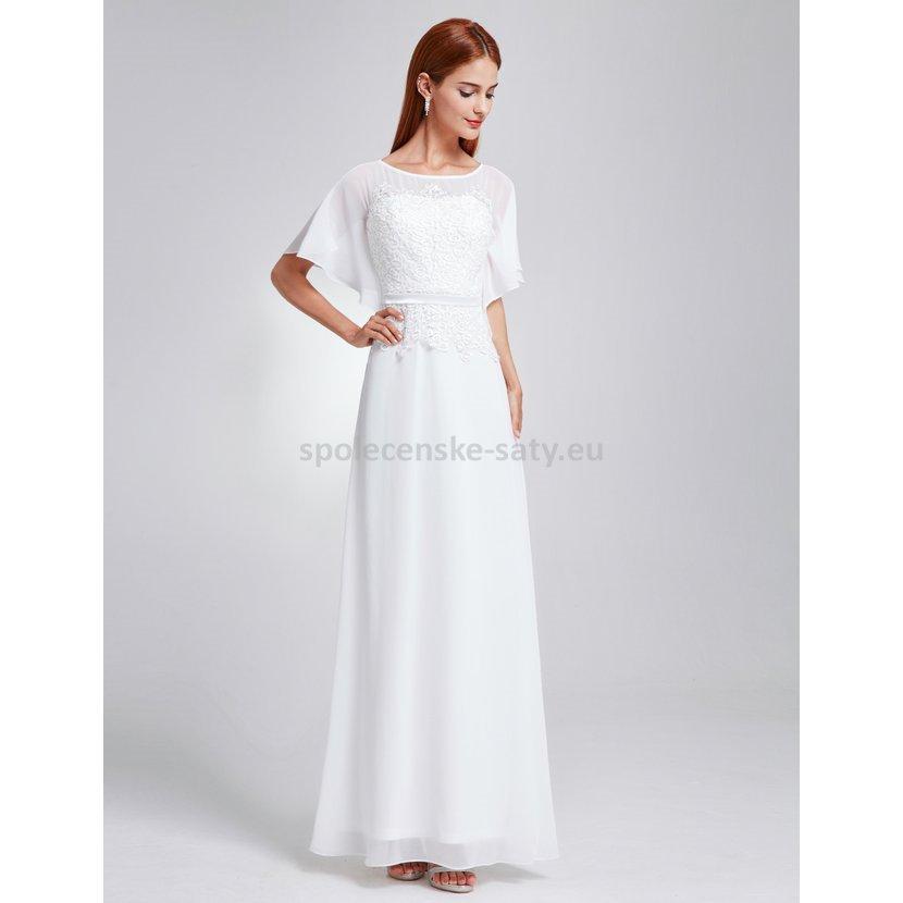 a83861e7eef Bílé dlouhé luxusní svatební šaty s rukávem 38-40