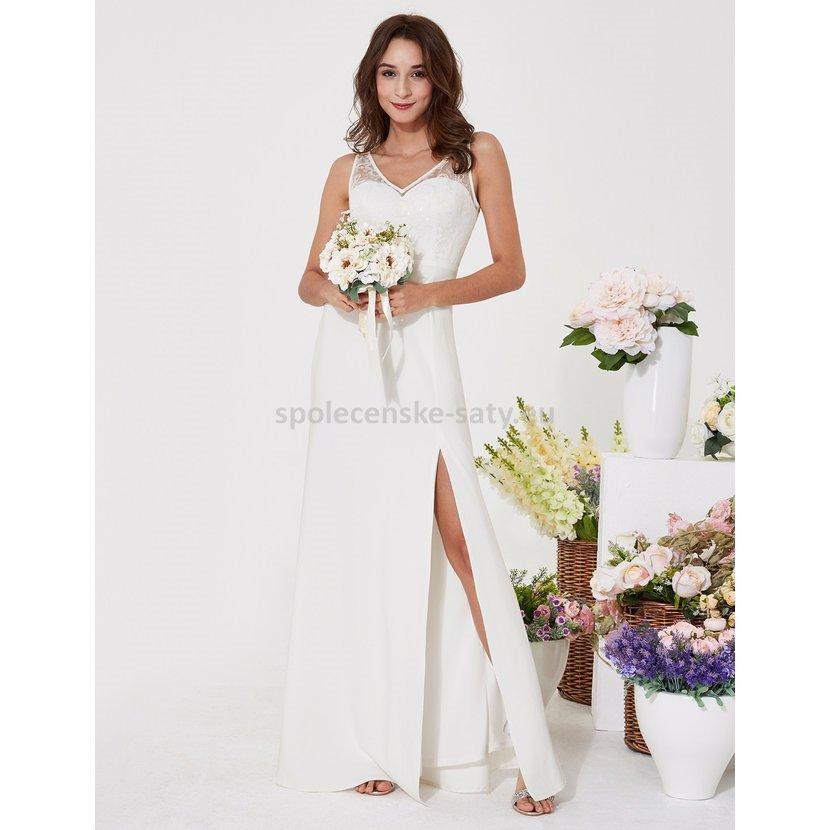 Levné bílé ivory svatební šaty na ramínka s rozparkem 38  6fba5f3f2d