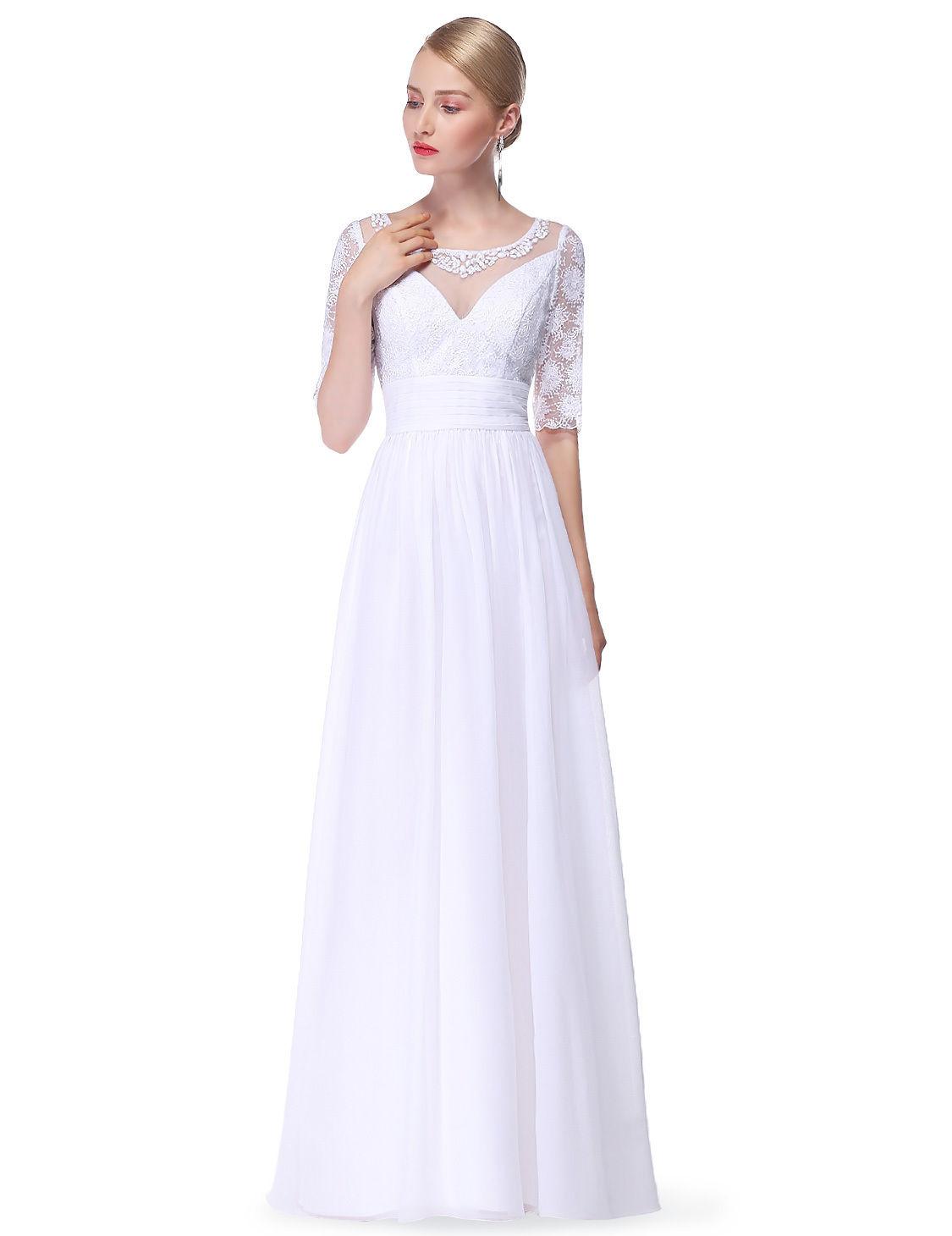 87c530ce2ce Jednoduché bílé svatební společenské šaty s rukávem 34-36