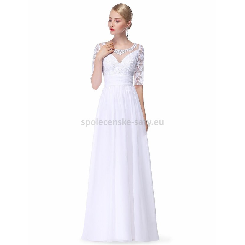 da0880050e6 Jednoduché bílé svatební společenské šaty s rukávem 40-42