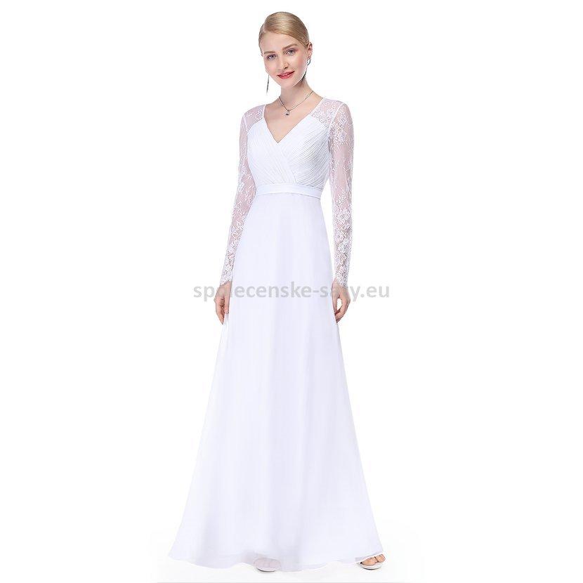 a143a42bf13 ... Bílé dlouhé svatební šaty s rukávem 36. bile-dlouhe-svatebni-saty-s -rukavem-starsi-nevesta1.