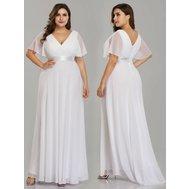 52ff9369a02e Bílé dlouhé svatební šaty s rukávem 54 nadměrné