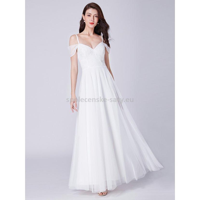 f16d1cd298a Bílé dlouhé svatební šaty se spuštěnými rameny 38 M