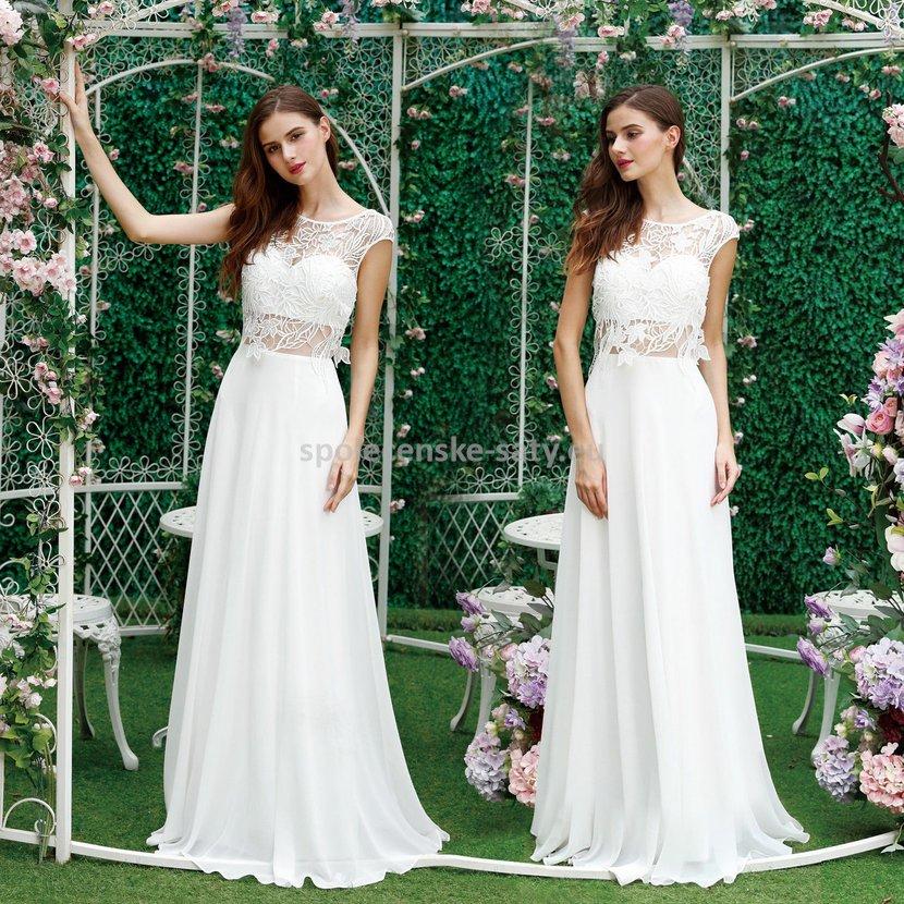 Bílé krémové svatební společenské šaty ivory 40  70de5dee74