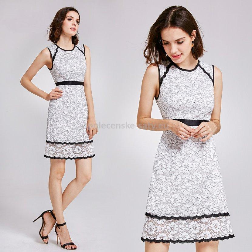 Černobílé krátké krajkové šaty 40-42  505f6c6dce