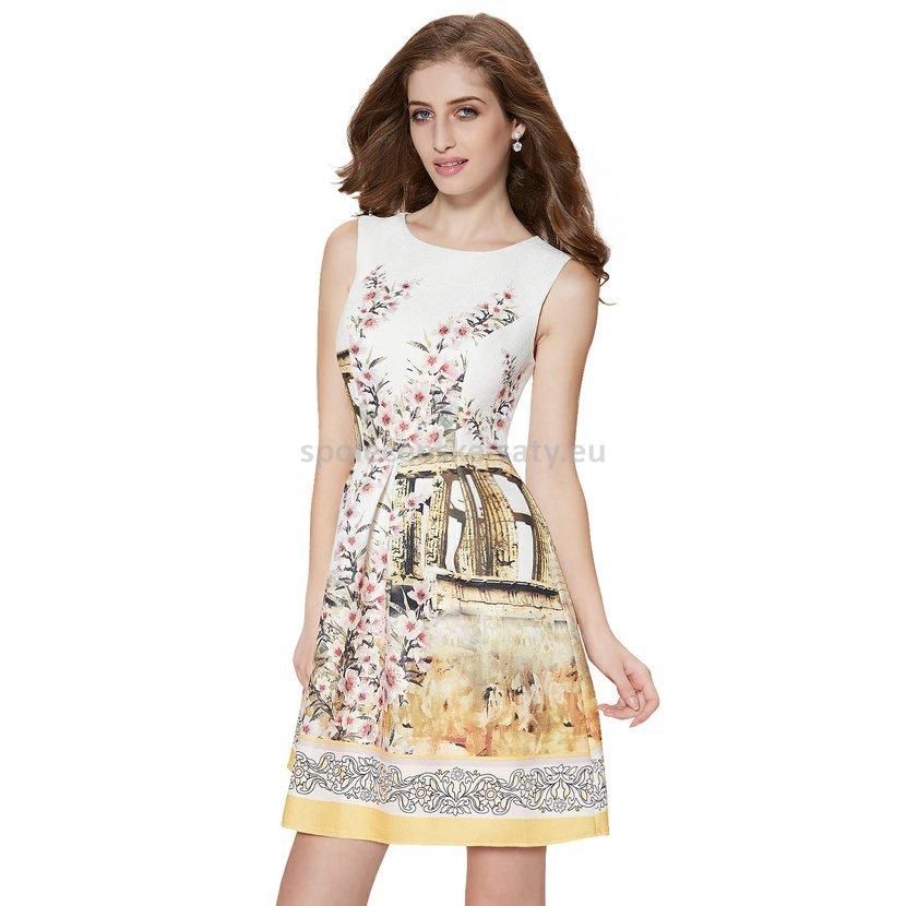 0a256258f62 Světlé krátké letní šaty se vzorem na svatbu 42