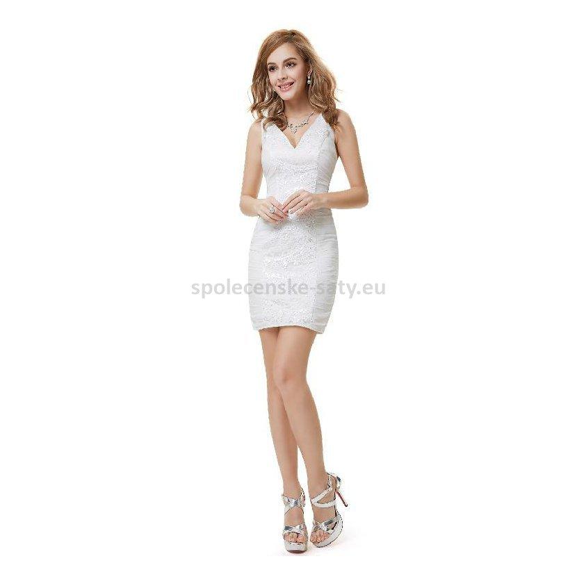 Bílé ivory krémové krátké pouzdrové šaty koktejlky 42 XL  6c7de6e91f7