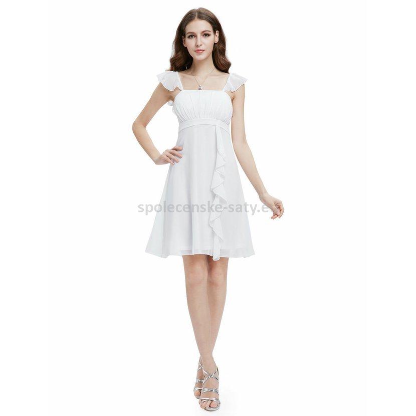 Bílé krátké společenské šaty po kolena na svatbu k moři 44 ... 40e90a7352a