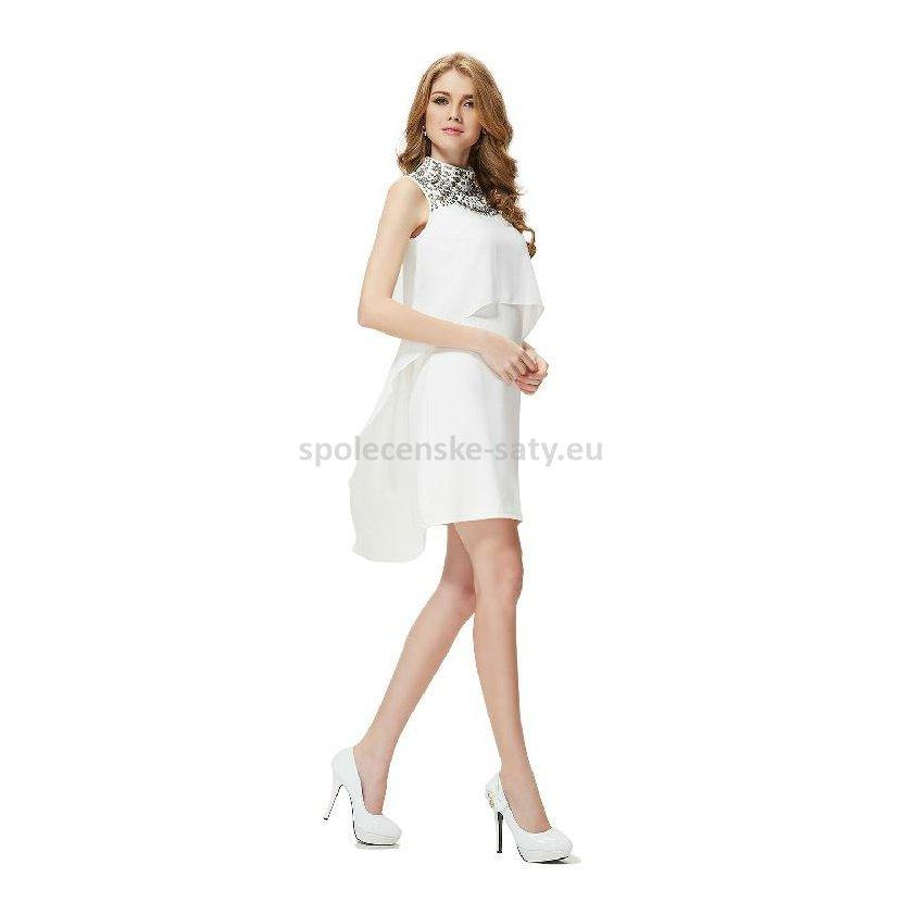 Krémově bílé krátké společenské svatební šaty nadměrné 46  3667276bcf