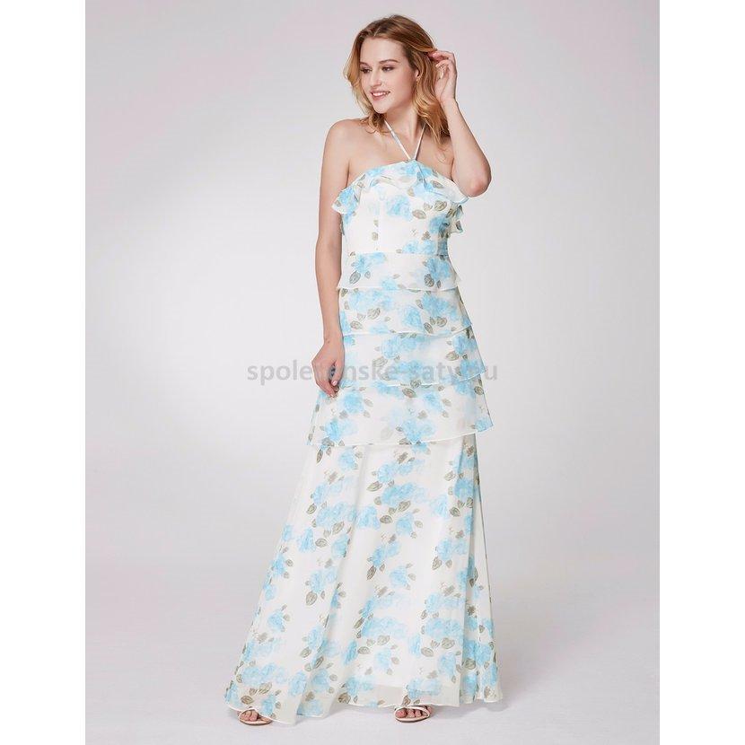 d612628ed8f Bílé modré dlouhé letní šaty za krk 34-36