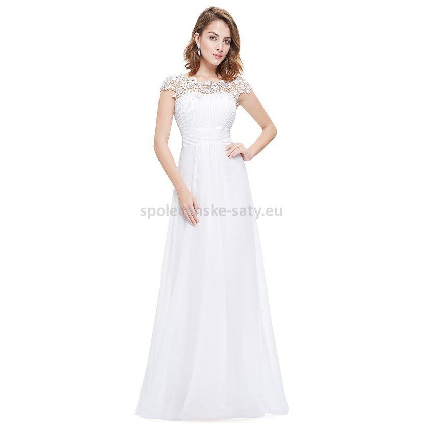 Bílé dlouhé šaty do společnosti na ples svatbu s rukávkem 44 XXL ... fc30f49fe56