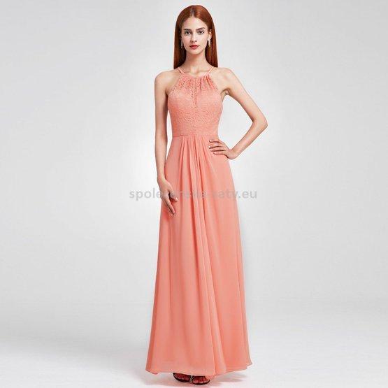 f600480c5f0 Broskvové dlouhé společenské plesové šaty na svatbu 40-42