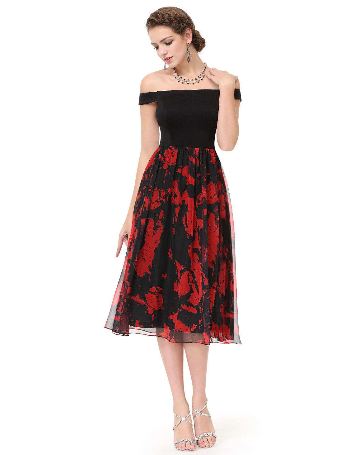 Černé červené společenské šaty pod kolena se spadlými rameny 34 xs ... 9a392410a70