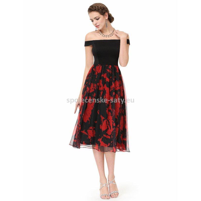 74da6665bdd7 Černé červené společenské šaty pod kolena se spadlými rameny 34 xs ...