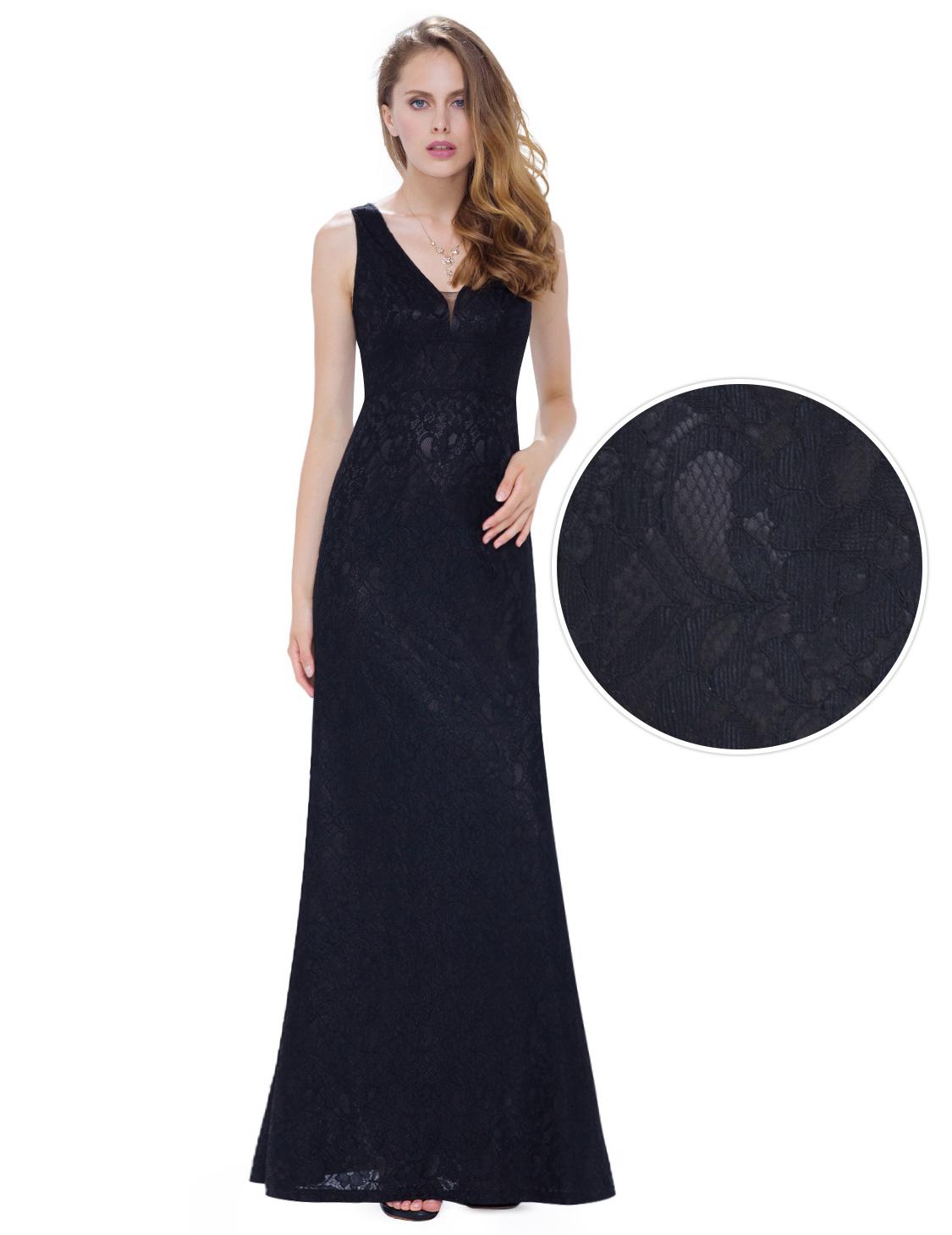5b64c1826d1 Černé dlouhé krajkové šaty na ples 40 L