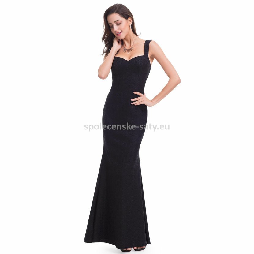 Černé dlouhé luxusní pouzdrové šaty krajkové 40-42  e742250ee5