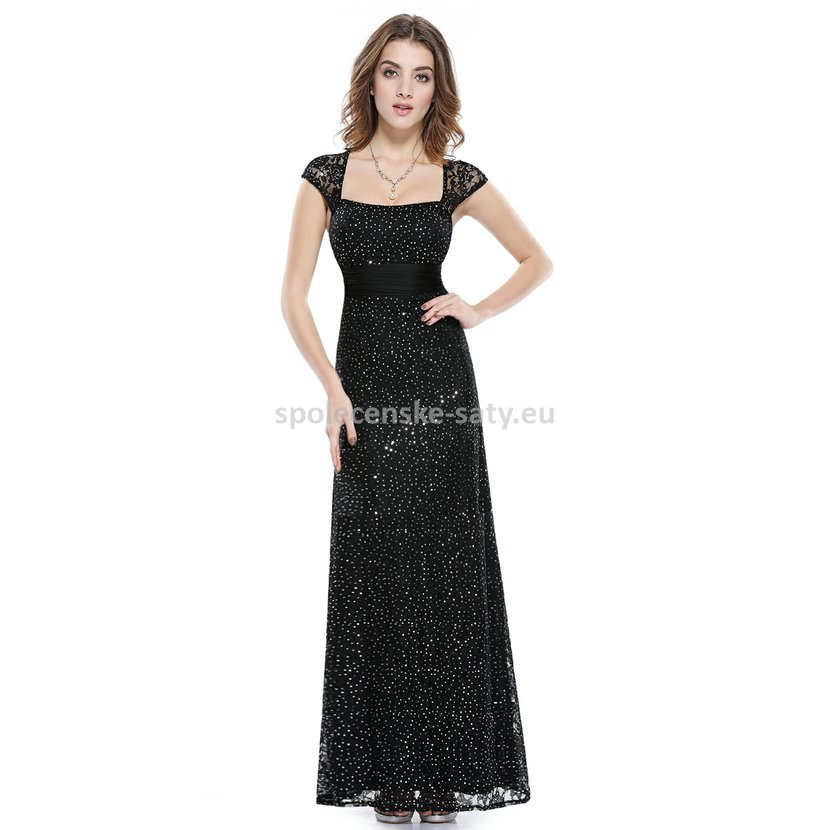 Černé dlouhé společenské svatební šaty krajkové s mini rukávkem 34 ... 0fd04d740b1