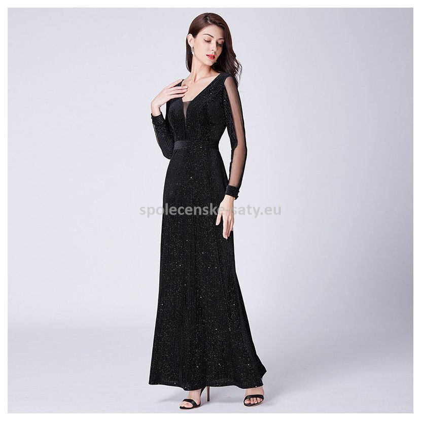 Černé dlouhé sametové šaty na ples 36-38  9af51c42940