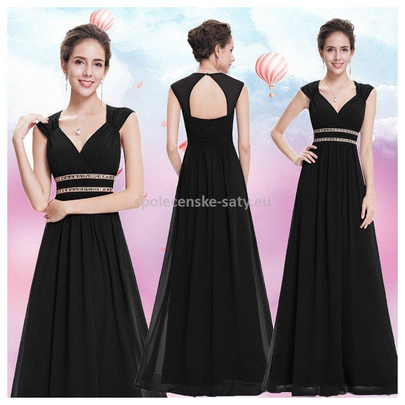 190ab4694e47 Černé dlouhé společenské šaty ve stylu řecké bohyně 42 XL ...