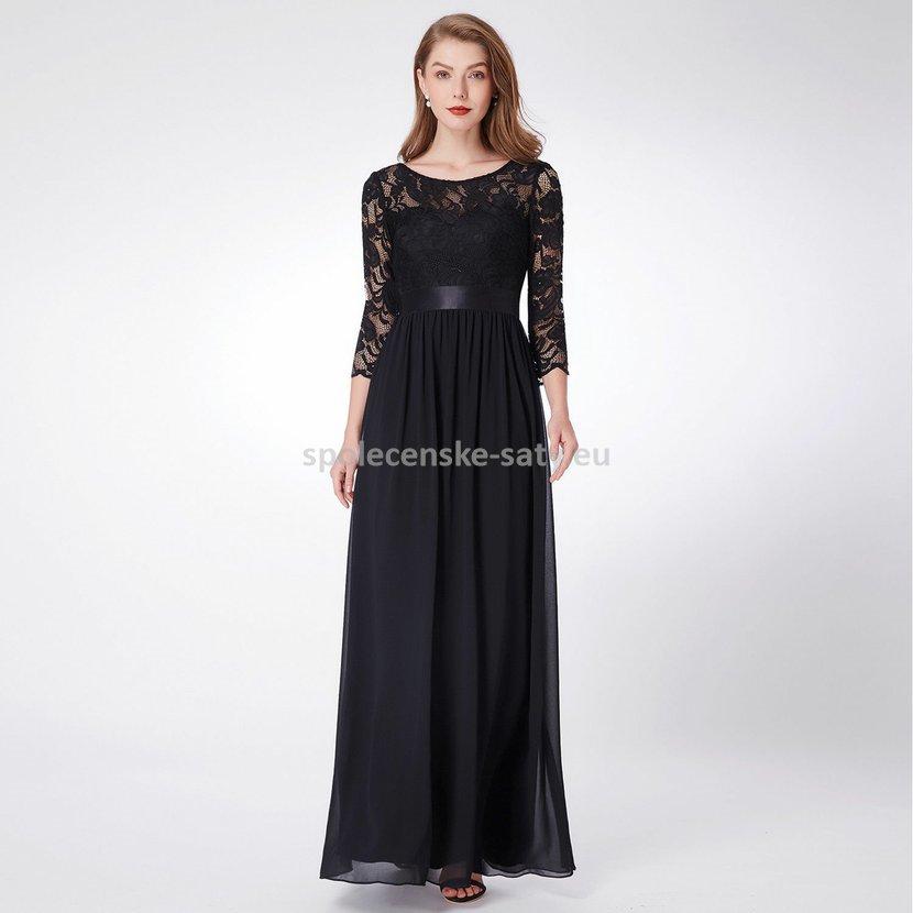Černé velmi dlouhé společenské šaty s krajkovým rukávem 42 XL ... da11ba32cc