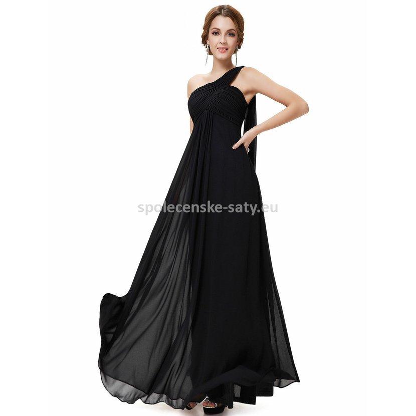 Černé dlouhé společenské šaty na 1 rameno empírové i pro těhotné 40 ... 62a9ba56e8b