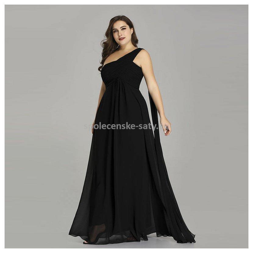 Černé dlouhé společenské šaty na rameno empírové i pro těhotné ... 240bcba6693