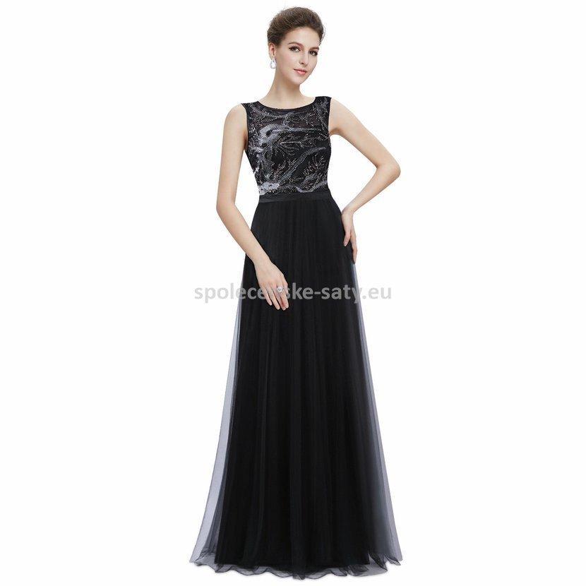 Černé dlouhé šaty na maturitní ples tylové 46  ff71a80790
