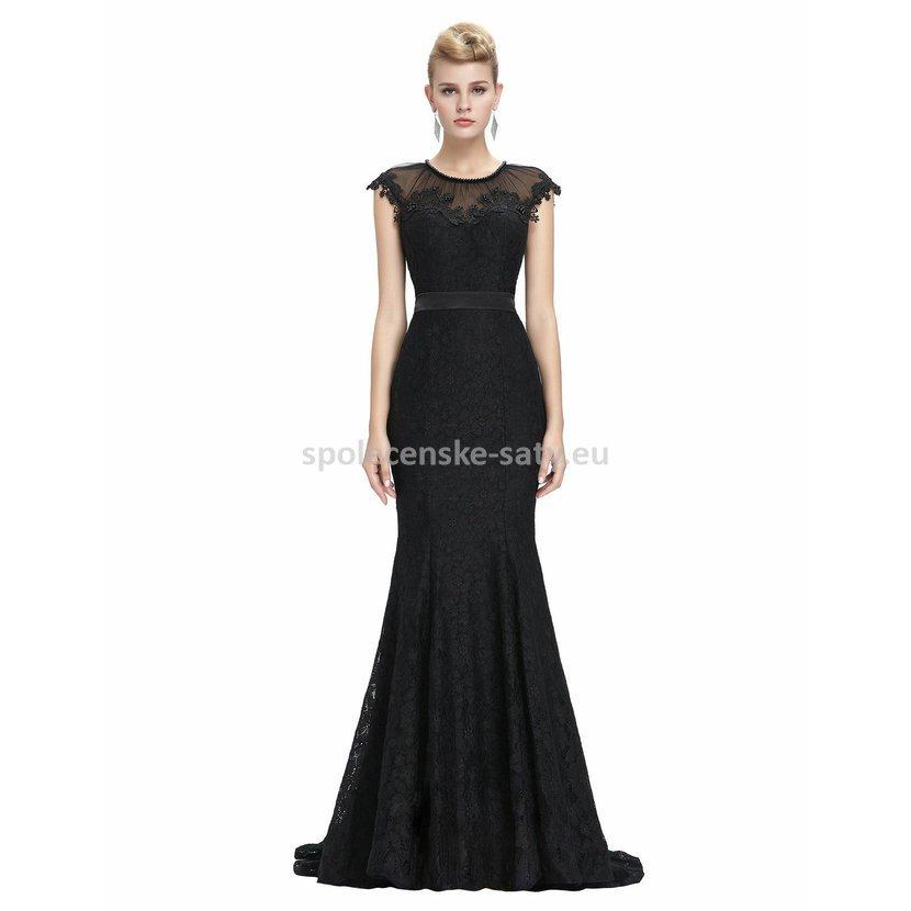 575cbde4426 Černé dlouhé společenské šaty krajkové pouzdrové s mini rukávkem 36 ...