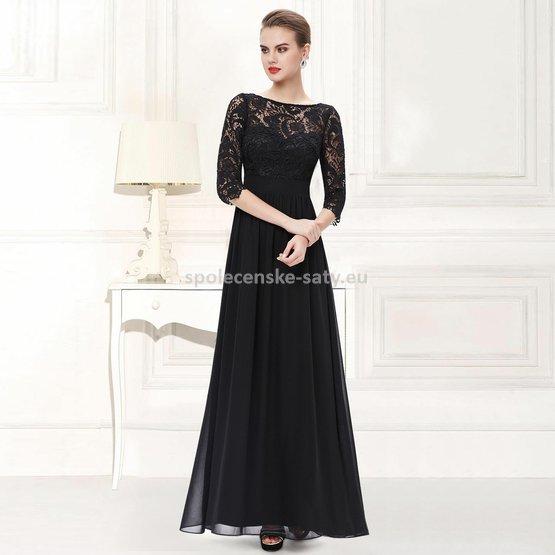 Černé dlouhé společenské šaty s krajkovým rukávem 44 XXL ... 27edce15b79
