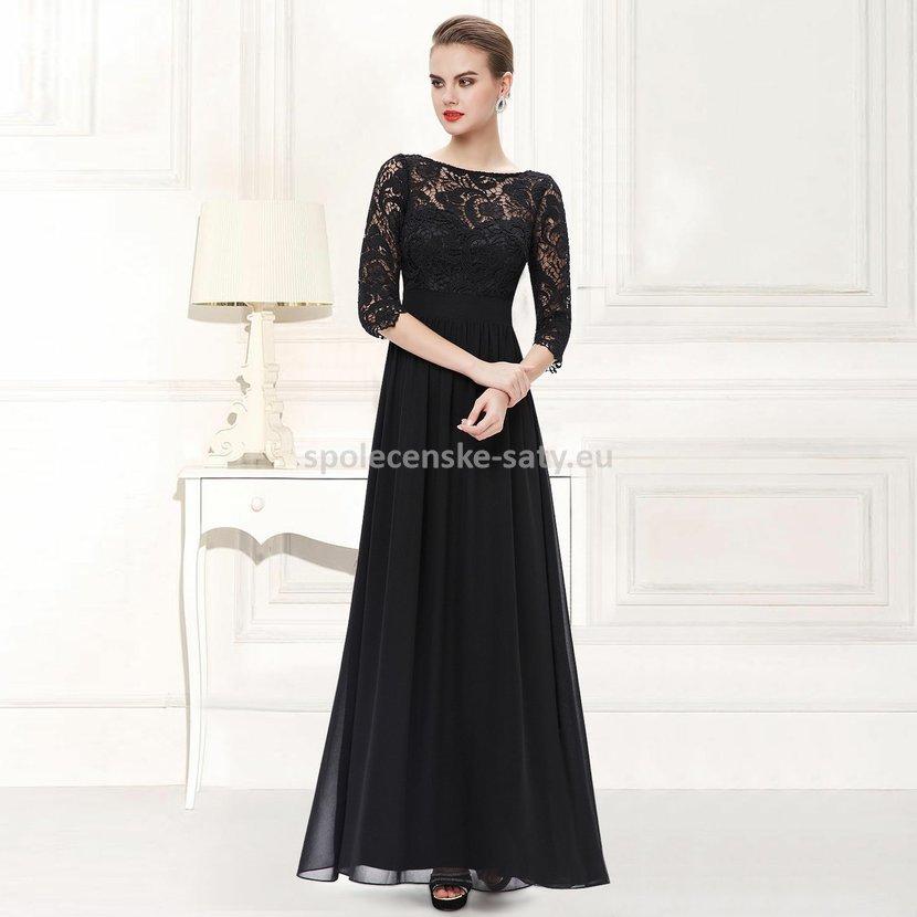 Černé dlouhé společenské šaty s krajkovým rukávem 38  7405ce0630
