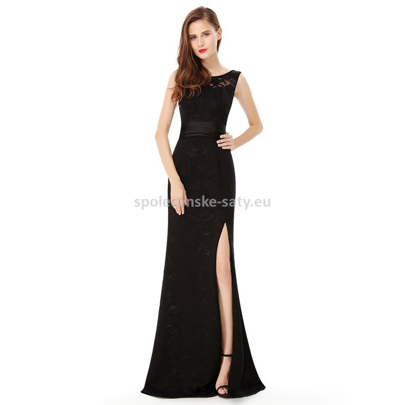 4a95530d719a Černé dlouhé sexy šaty s rozparekm zeštíhlující 42 xl