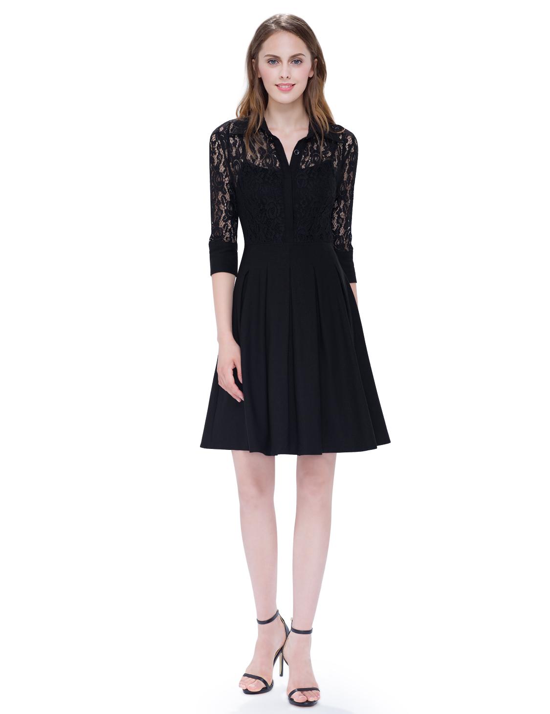 8b37816d7d56 Malé černé šaty koktejlky krajkové s rukávem 36 S