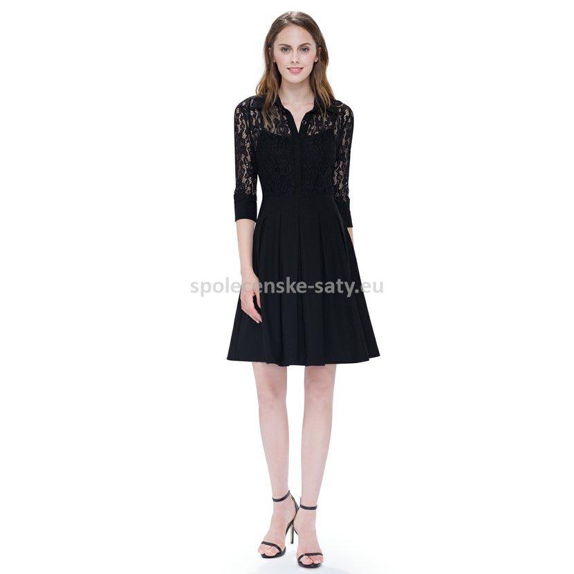 4dc3e00df461 Malé černé šaty koktejlky krajkové s rukávem 40-42