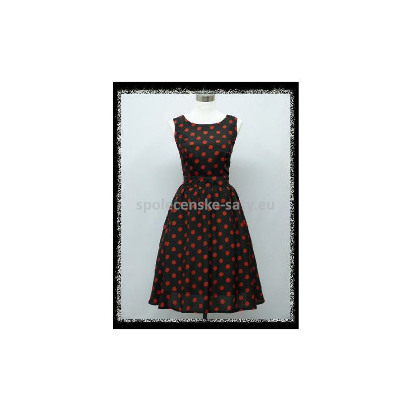 Černé krátké šaty s puntíky na retro ples 42 XL  7e0a6708d4
