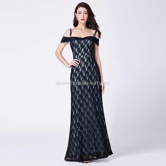 Černé modré dlouhé krajkové šaty holá ramena 42  ab2e91e91ab