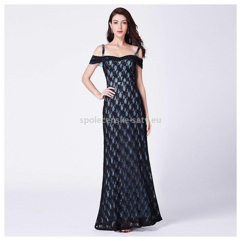 Černé modré dlouhé krajkové šaty holá ramena 42  c8076c85150