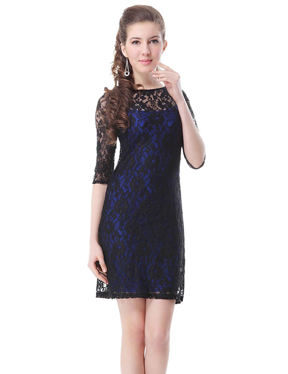 4782158c713a Černé modré krátké krajkové šaty s rukávem koktejlky 36 S ...