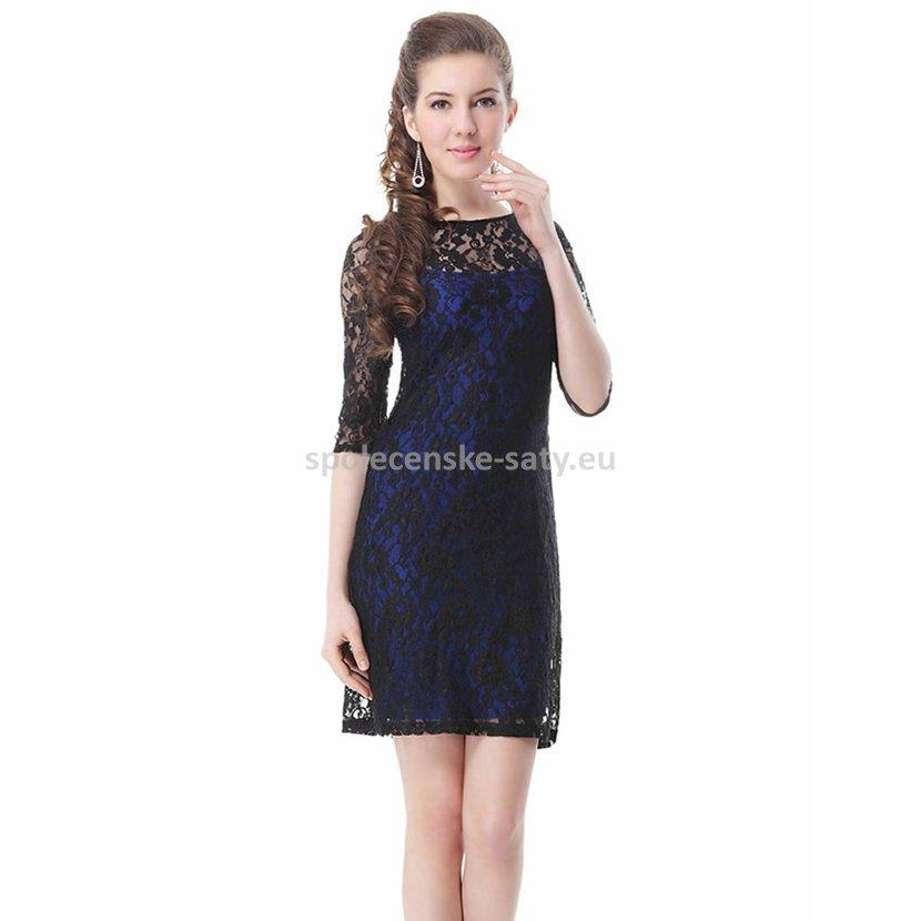 Černé modré krátké krajkové šaty s rukávem koktejlky 36 S ... e9d4f97f85