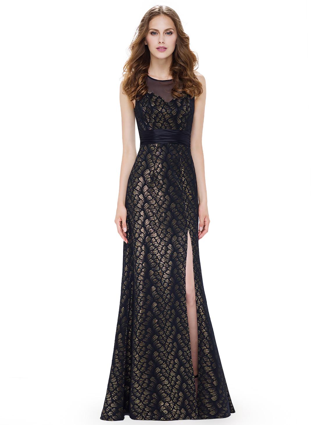 Luxusní společenské šaty na ples černé zlaté 44  40faf964d7