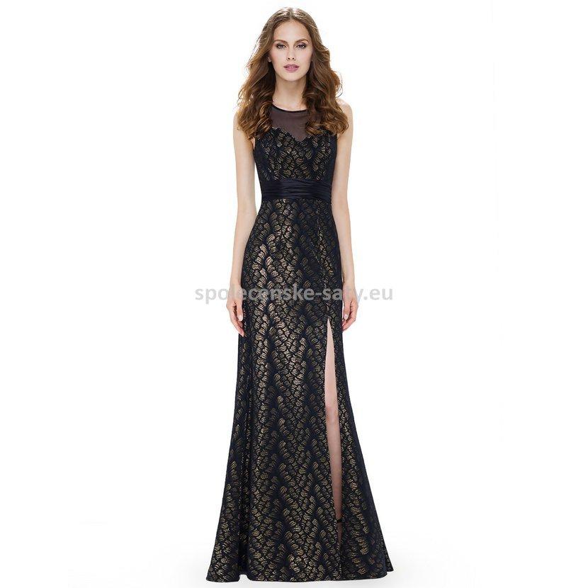 Luxusní společenské šaty na ples černé zlaté 44  8c70603d69