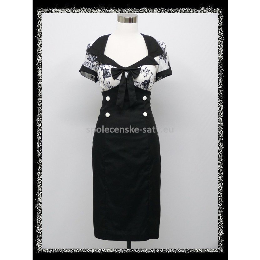 Černobílé retro šaty pod kolena s rukávem 42 XL  3ac9b7876b